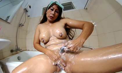 Double Showerhead Masturbation, Pee And Soaping In Bathtub - Asian MILF
