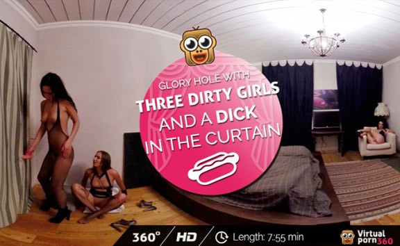Glory hole with three dirty girls and a dick in the curtain