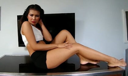 Teasing You From A Small Boobs Asian - Teen with Sexy Legs