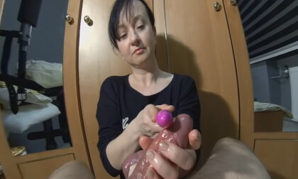 Vibrating His Cock And 2 Cumshots