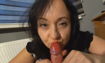 Liptstick On His Cock - Ruined Orgasm Blowjob