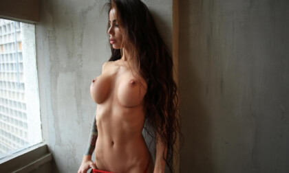 Fit, Busty Brunette Strips - Solo Model with Huge Tits