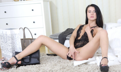 Breathtaking Brunette Tries On New Clothes - Solo Model in Lingerie