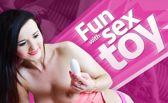 Fun with Sex Toy - Slim Brunette Toying Shaved Pussy