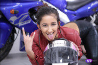 The Biker Babe in Leather Pants Shows Her Best VR porn