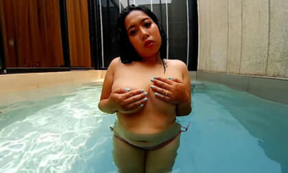 Girl With Big Tits In The Pool - Asian BBW Solo Non-Nude