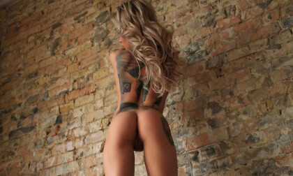 Blonde Striptease - Tattooed Solo Model Strips