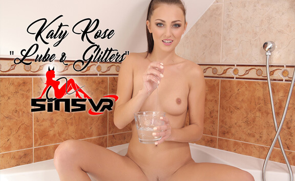 Katy Rose - Lube & Glitters - Shaved Solo Model In Tub