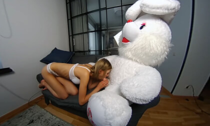Lucy K First VR; Furry Stuffed Animal Blowjob and Fuck