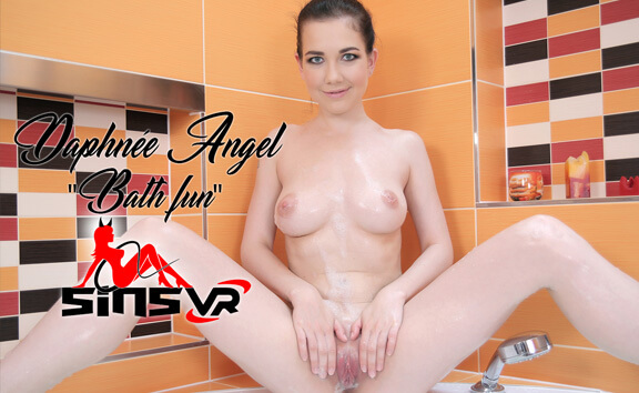 Daphnee Angel - Bath Fun; Busty Brunette Solo