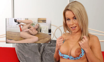 Squirting The Camera - Busty Blonde Solo Piss