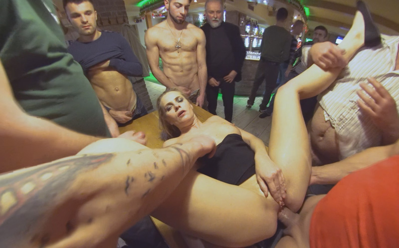 Brittany Bardot squirts while getting gangbanged by dozens of horny guys in Squirting MILFonmaniac