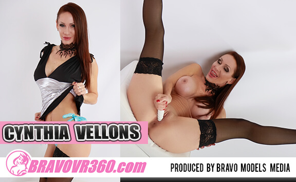 Cynthia Vellons in Stockings Toying - Busty Shaved Vibrator