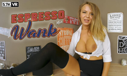 Espresso Wank - Big Tits Shaved Blonde