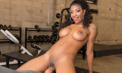 Hard 'Core' Training; Big Tits Interracial POV