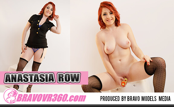 Redhead Anastasia Row Fucking Her Dildo - Shaved Stockings Toying