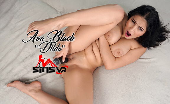 Ava Black - Dildo; Busty Brunette Solo