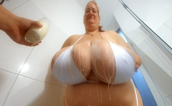 A Milk Shower for Sunniva - Huge Tit BBW