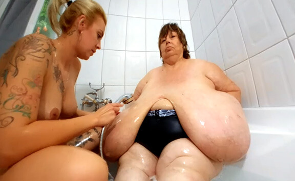 Karola Gets Her Giant Tits Soaped - Enormous Tits BBW