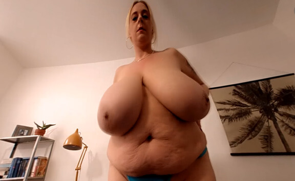 Emilia's Blue Lingerie Strip - Huge Tit BBW