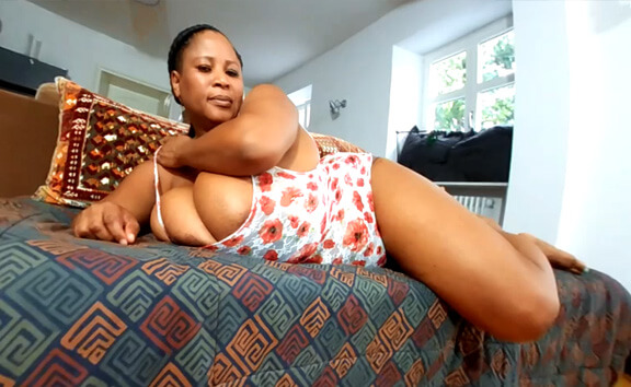 Pam's Titplay on the Sofa; Ebony Huge Tits BBW