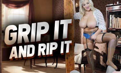 Grip It And Rip It with G cup Krystal Swift; BBW plus size huge tits big ass nylons pantyhose strip lapdance